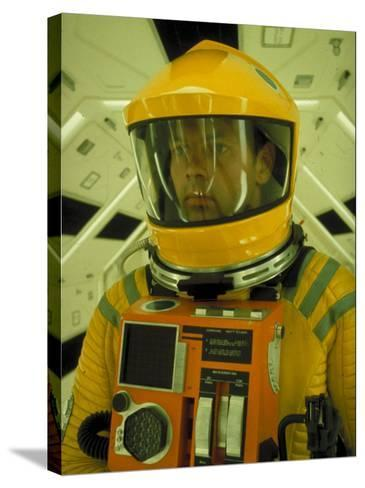 """Close Up Portrait of Actor in Astronaut Suit on the Set of the Movie """"2001: A Space Odyssey""""-Dmitri Kessel-Stretched Canvas Print"""