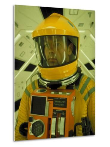 """Close Up Portrait of Actor in Astronaut Suit on the Set of the Movie """"2001: A Space Odyssey""""-Dmitri Kessel-Metal Print"""