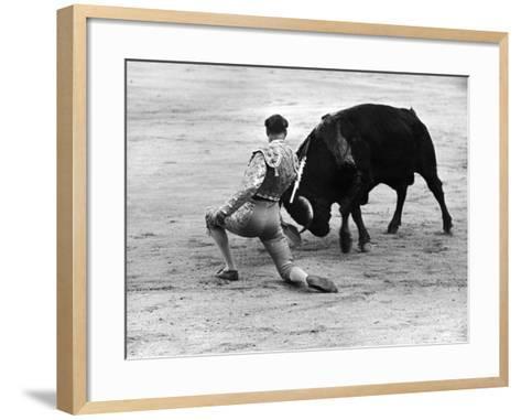 Matador Julian Marin and Bull in the Ring for a Bullfight During the Fiesta de San Ferman-Tony Linck-Framed Art Print