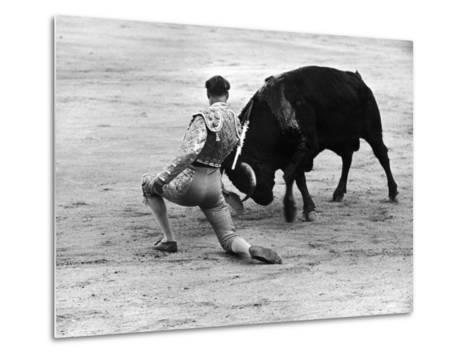 Matador Julian Marin and Bull in the Ring for a Bullfight During the Fiesta de San Ferman-Tony Linck-Metal Print