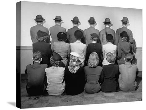 Macy's Department Store Detectives with Their Backs Turned So as Not to Reveal Their Identity-Nina Leen-Stretched Canvas Print