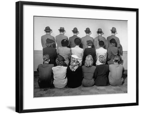 Macy's Department Store Detectives with Their Backs Turned So as Not to Reveal Their Identity-Nina Leen-Framed Art Print