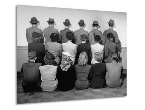 Macy's Department Store Detectives with Their Backs Turned So as Not to Reveal Their Identity-Nina Leen-Metal Print