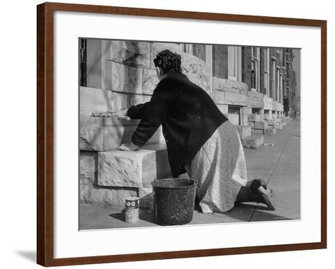 Housewife Washing Her White Stoop During Part of Her Daily Routine-Margaret Bourke-White-Framed Art Print