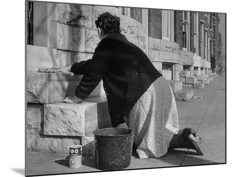 Housewife Washing Her White Stoop During Part of Her Daily Routine-Margaret Bourke-White-Mounted Photographic Print