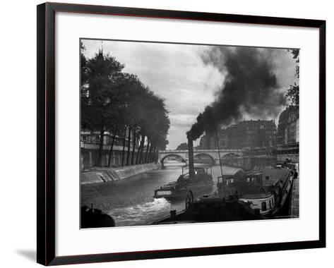 River Boat Smoke Passes along the River Seine-Andreas Feininger-Framed Art Print