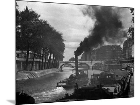 River Boat Smoke Passes along the River Seine-Andreas Feininger-Mounted Photographic Print