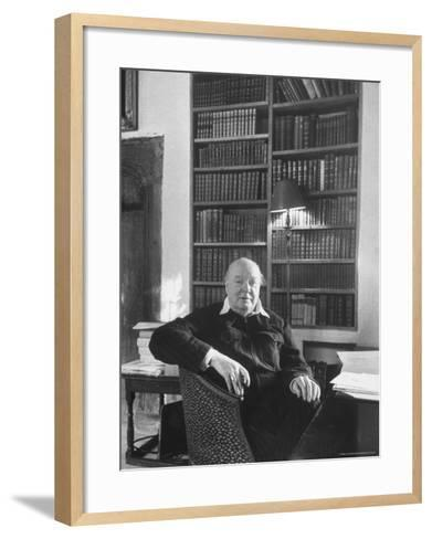 Portrait of Winston Churchill in His Study at Chartwell-Alfred Eisenstaedt-Framed Art Print