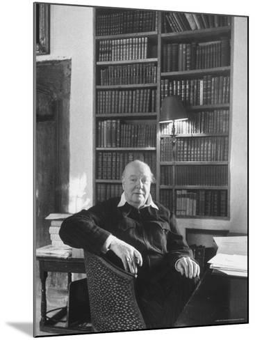 Portrait of Winston Churchill in His Study at Chartwell-Alfred Eisenstaedt-Mounted Premium Photographic Print