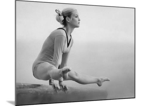 Gymnast Cathy Rigby, Training on Balancing Beam-John Dominis-Mounted Premium Photographic Print