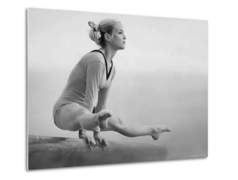 Gymnast Cathy Rigby, Training on Balancing Beam-John Dominis-Metal Print