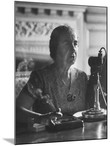 Israeli Foreign Minister Golda Meir Speaking at Press Conference-Loomis Dean-Mounted Premium Photographic Print