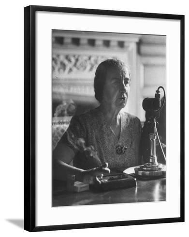 Israeli Foreign Minister Golda Meir Speaking at Press Conference-Loomis Dean-Framed Art Print