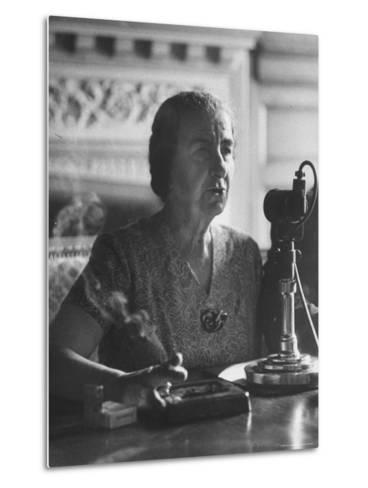 Israeli Foreign Minister Golda Meir Speaking at Press Conference-Loomis Dean-Metal Print