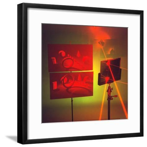 Hologram made by Juris Upatnieks projects on screens when lasers passes through different places-Fritz Goro-Framed Art Print