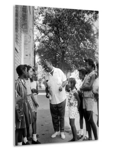 Musician Louis Armstrong with Neighborhood Kids-John Loengard-Metal Print