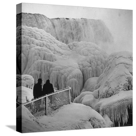Frozen Niagara Falls, Trees, Park Grounds and Rocks Covered with Ice and Mist-Andreas Feininger-Stretched Canvas Print