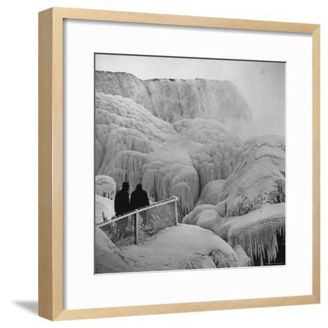 Frozen Niagara Falls, Trees, Park Grounds and Rocks Covered with Ice and Mist-Andreas Feininger-Framed Art Print
