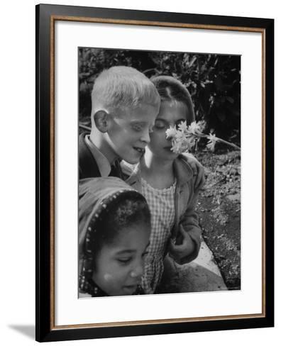 Blind School Children During an Outing in Brooklyn Botanical Gardens of Fragrance-Lisa Larsen-Framed Art Print
