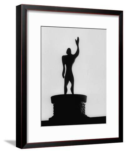 """Statue of """"Le Modulor,"""" by Le Corbusier's Ratio of Architectural Design in Relation to Human Figure-James Burke-Framed Art Print"""
