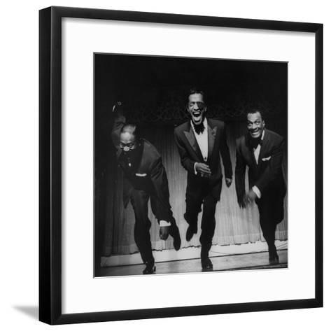 Performers, Sammy Davis Sr, Sammy Davis Jr, and Will Mastin, Together on Stage at Ciro's Dancing-Allan Grant-Framed Art Print