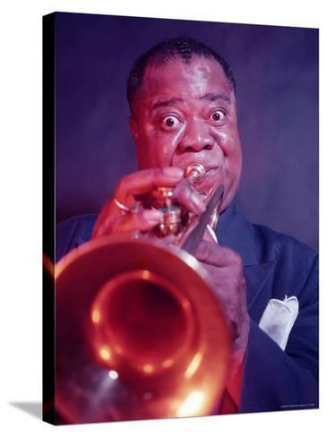 Jazz Musician Louis Armstrong Playing Trumpet-Eliot Elisofon-Stretched Canvas Print