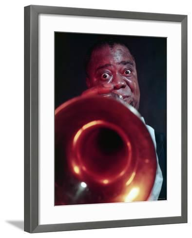 Jazz Musician Louis Armstrong Blowing on Trumpet-Eliot Elisofon-Framed Art Print