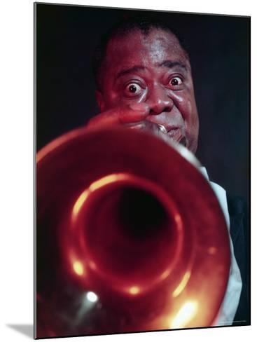 Jazz Musician Louis Armstrong Blowing on Trumpet-Eliot Elisofon-Mounted Premium Photographic Print