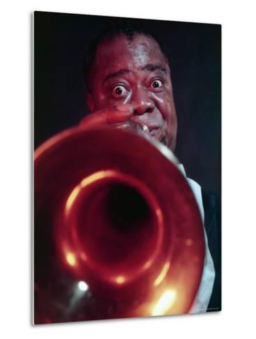 Jazz Musician Louis Armstrong Blowing on Trumpet-Eliot Elisofon-Metal Print