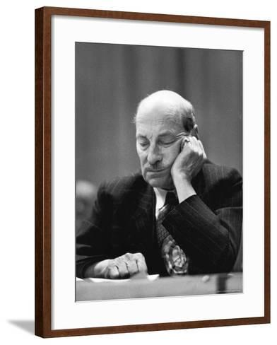 British Pm Clement Attlee Dozing During Campaign Rally-Alfred Eisenstaedt-Framed Art Print