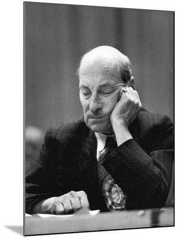 British Pm Clement Attlee Dozing During Campaign Rally-Alfred Eisenstaedt-Mounted Premium Photographic Print