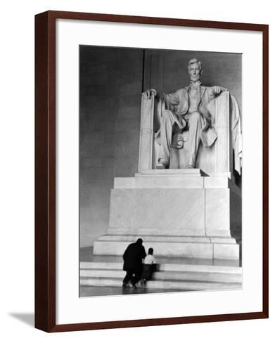 Black Man and Small Boy Kneeling Prayerfully on Steps on Front of Statue in the Lincoln Memorial-Thomas D^ Mcavoy-Framed Art Print