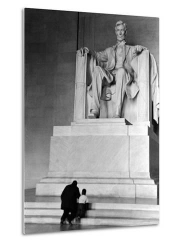 Black Man and Small Boy Kneeling Prayerfully on Steps on Front of Statue in the Lincoln Memorial-Thomas D^ Mcavoy-Metal Print