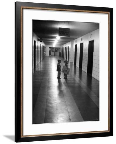 Students talking in program for Teaching Gifted Children, Hunter College Elementary School-Nina Leen-Framed Art Print