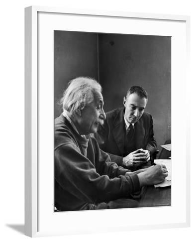 Physicist J. Robert Oppenheimer Discusses Theory of Matter with Famed Physicist Dr. Albert Einstein-Alfred Eisenstaedt-Framed Art Print