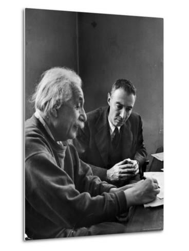 Physicist J. Robert Oppenheimer Discusses Theory of Matter with Famed Physicist Dr. Albert Einstein-Alfred Eisenstaedt-Metal Print