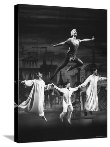 """Actress Mary Martin Gives kids a Flying Lesson in the Broadway Production of Musical """"Peter Pan""""-Allan Grant-Stretched Canvas Print"""