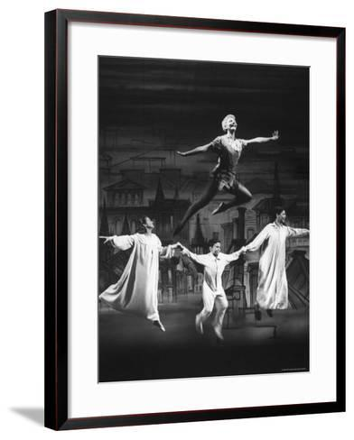 """Actress Mary Martin Gives kids a Flying Lesson in the Broadway Production of Musical """"Peter Pan""""-Allan Grant-Framed Art Print"""