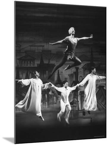 """Actress Mary Martin Gives kids a Flying Lesson in the Broadway Production of Musical """"Peter Pan""""-Allan Grant-Mounted Premium Photographic Print"""