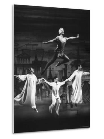 """Actress Mary Martin Gives kids a Flying Lesson in the Broadway Production of Musical """"Peter Pan""""-Allan Grant-Metal Print"""