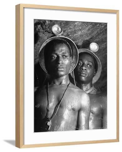Gold Miners, Wearing Helmets and Perspiring Heavily, Standing in Robinson Deep Diamond Mine Tunnel-Margaret Bourke-White-Framed Art Print