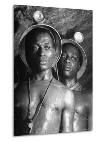 Gold Miners, Wearing Helmets and Perspiring Heavily, Standing in Robinson Deep Diamond Mine Tunnel-Margaret Bourke-White-Metal Print