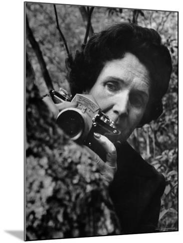 Biologist/Author Rachel Carson Holding Her German Kine Exakta Camera in the Woods Near Her Home-Alfred Eisenstaedt-Mounted Premium Photographic Print