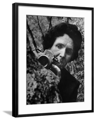 Biologist/Author Rachel Carson Holding Her German Kine Exakta Camera in the Woods Near Her Home-Alfred Eisenstaedt-Framed Art Print
