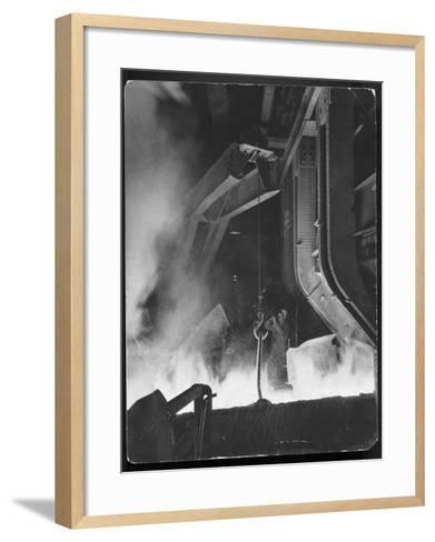Female Metallurgist Peering Through an Optical Pyrometer to Determine the Temperature of Steel-Margaret Bourke-White-Framed Art Print