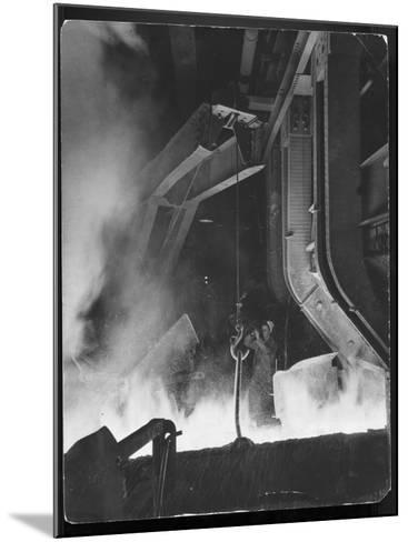 Female Metallurgist Peering Through an Optical Pyrometer to Determine the Temperature of Steel-Margaret Bourke-White-Mounted Photographic Print