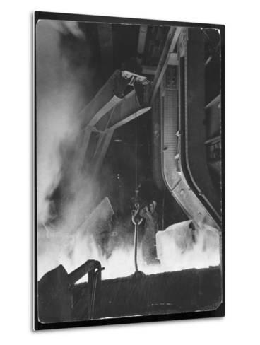 Female Metallurgist Peering Through an Optical Pyrometer to Determine the Temperature of Steel-Margaret Bourke-White-Metal Print