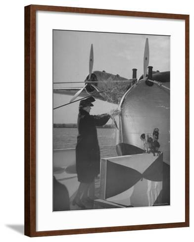 """First Lady Eleanor Roosevelt on the Hull of Pan American's New Flying Boat the """"Yankee Clipper""""-Thomas D^ Mcavoy-Framed Art Print"""