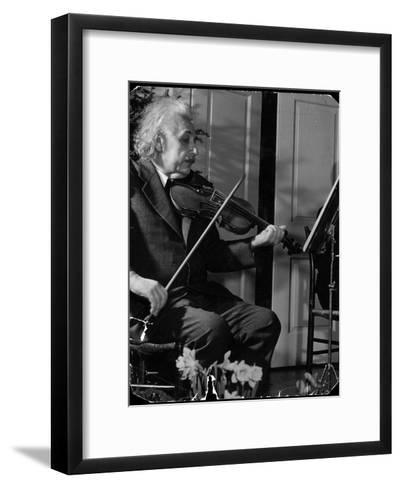 Physicist Dr. Albert Einstein Practicing His Beloved Violin-Hansel Mieth-Framed Art Print