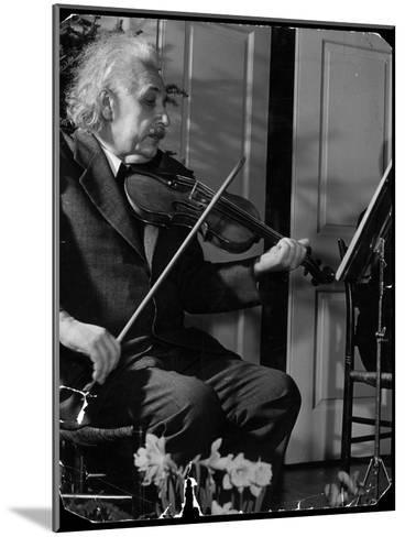 Physicist Dr. Albert Einstein Practicing His Beloved Violin-Hansel Mieth-Mounted Premium Photographic Print
